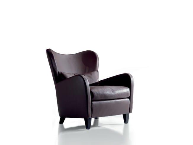 Leather armchair with armrests PORTOFINO | Leather armchair - Marac