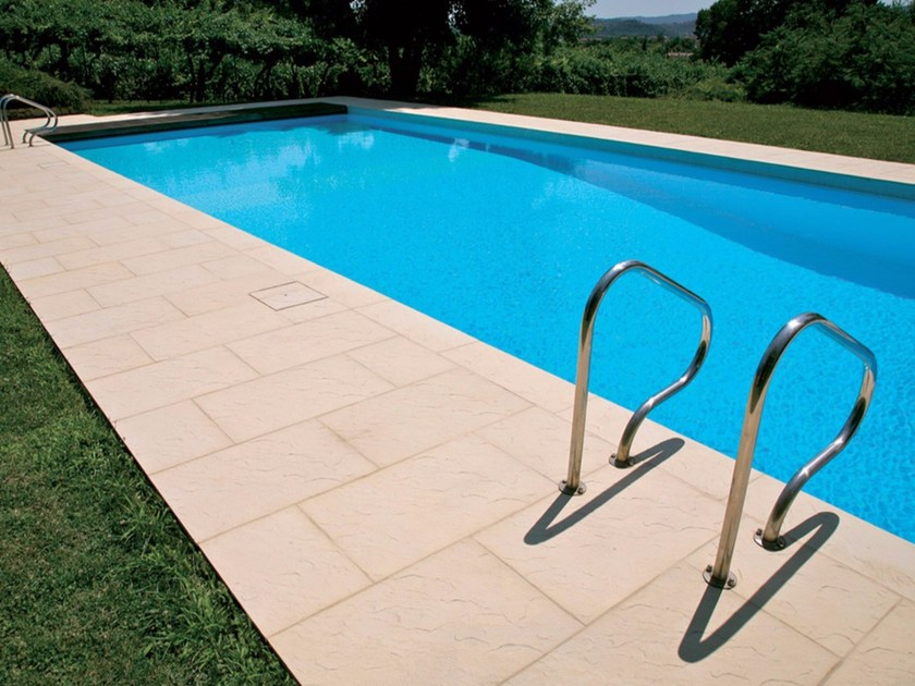 Reconstructed stone outdoor floor tiles / Pool edging PORTOFINO by Micheletto