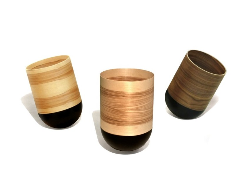 Wood veneer waste bin POUBELLIE - Otono Design