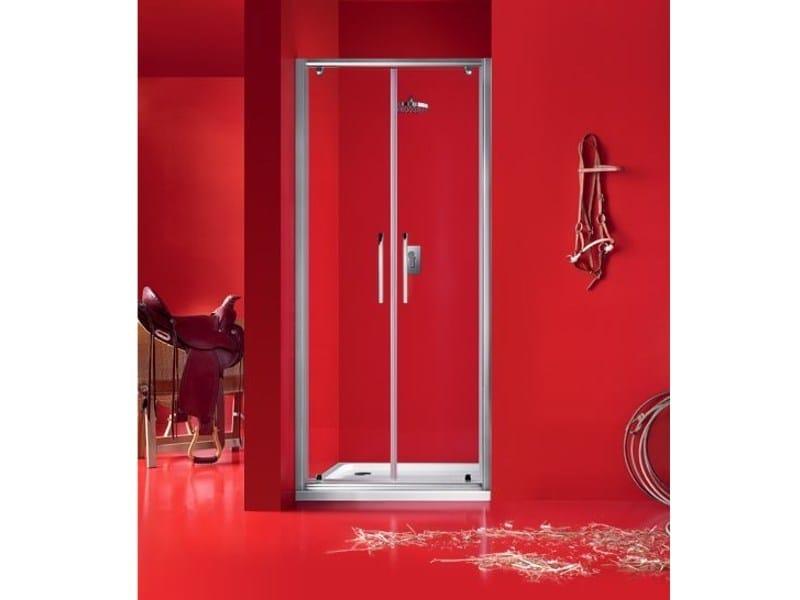 Niche glass shower cabin with hinged door PRAIA - 5 - INDA®
