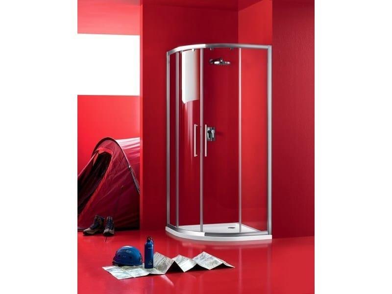 Semicircular glass shower cabin with sliding door PRAIA - 7 - INDA®