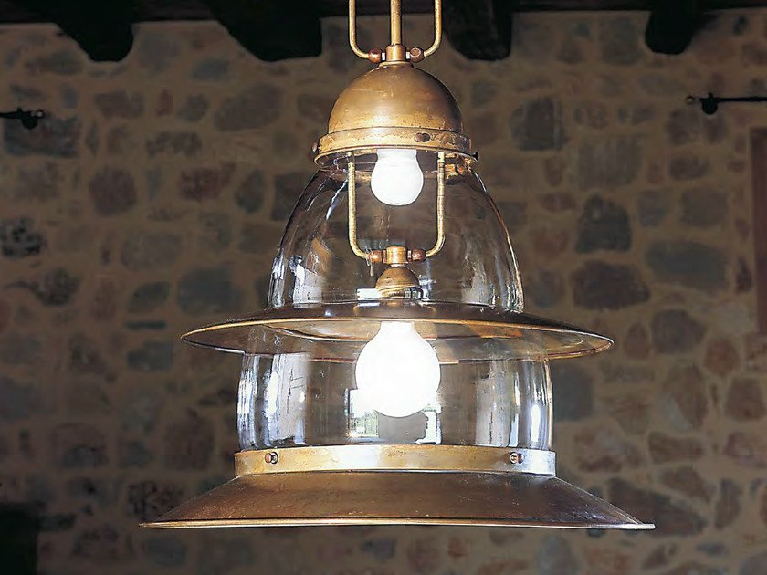 Direct-indirect light brass pendant lamp PRAMPER - Aldo Bernardi