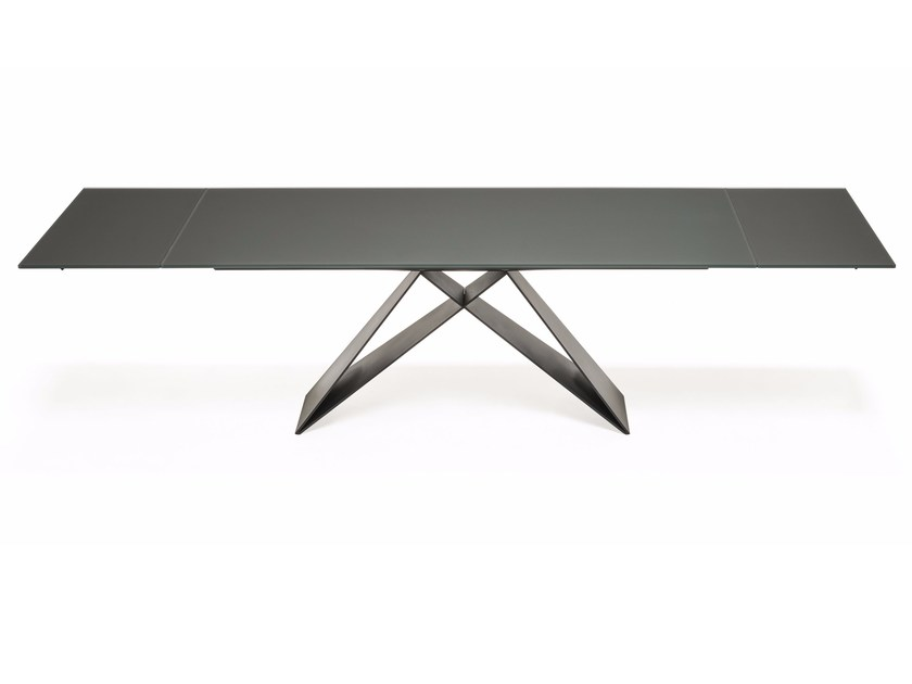 Extending rectangular crystal and steel table PREMIER DRIVE by Cattelan Italia
