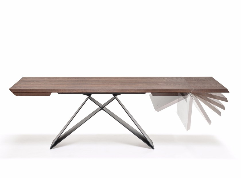 Extending rectangular steel and wood table PREMIER WOOD DRIVE by Cattelan Italia