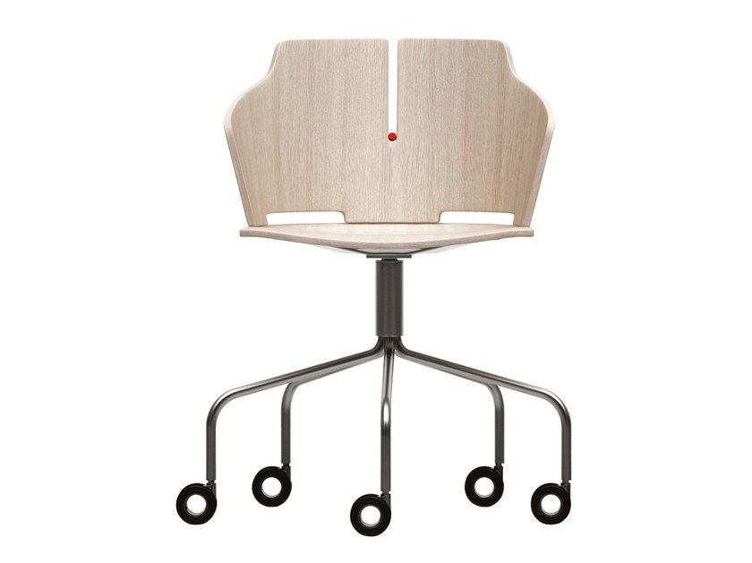 Swivel trestle-based chair with casters PRIMA | Chair with casters - Luxy