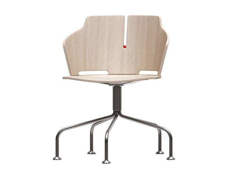Trestle-based laminated wood chair PRIMA | Trestle-based chair - Luxy