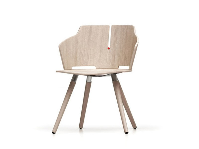 Laminated wood chair with armrests PRIMA | Wooden chair - Luxy
