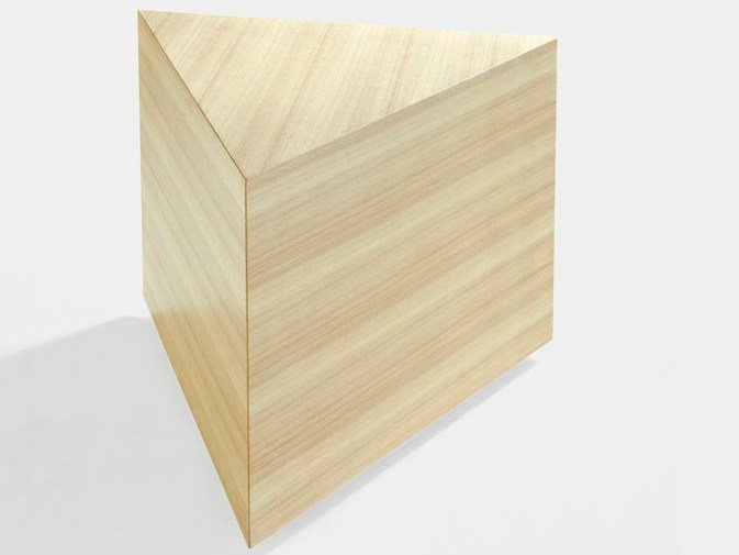 Low triangular wooden coffee table PRISMA | Coffee table - Derlot Editions
