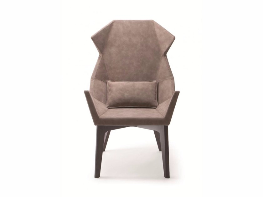 Contemporary style upholstered leather wingchair high-back PRISMA | Easy chair high-back - CIZETA