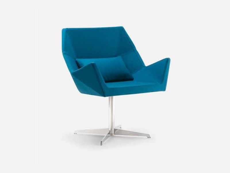 Swivel fabric easy chair with 4-spoke base with armrests PRISMA | Easy chair with 4-spoke base - CIZETA