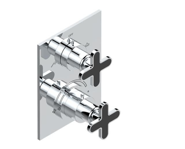 Contemporary style 2 hole metal thermostatic shower mixer with polished finishing with plate PROFIL ONIX NOIR A MANETTES | Thermostatic shower mixer - INTERCONTACT