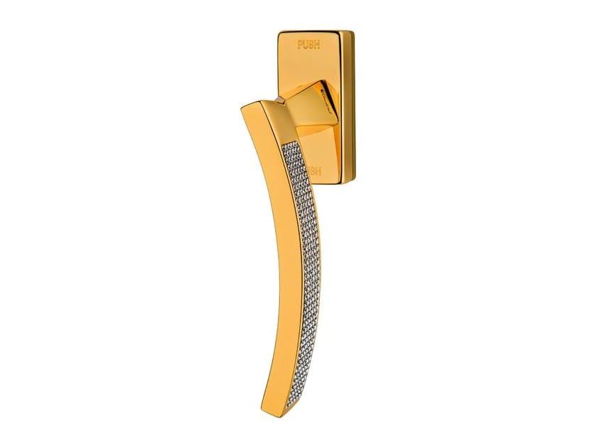 Contemporary style anti-intrusion DK window handle with Swarovski® Crystals PROFILO MESH | Anti-intrusion window handle - LINEA CALI'