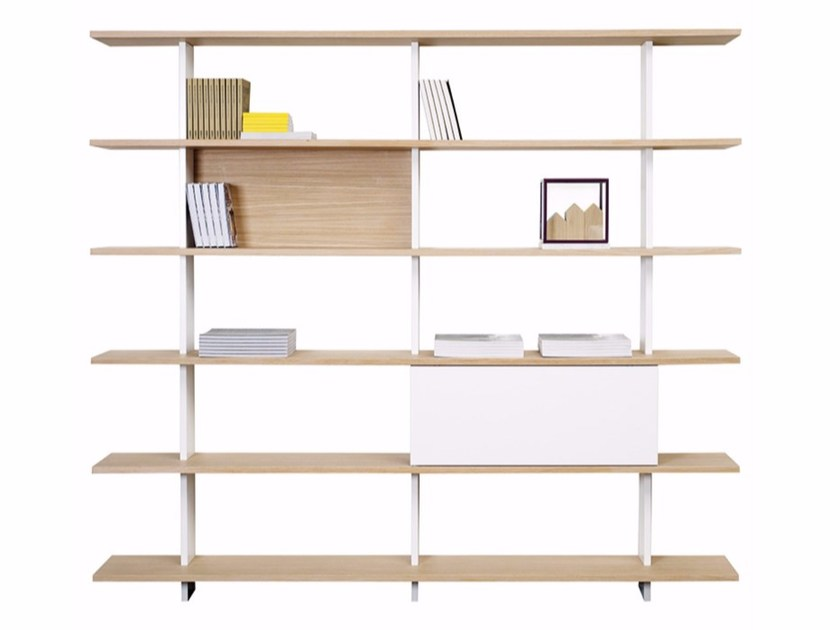 Open wall-mounted oak bookcase PROUST by ASPLUND