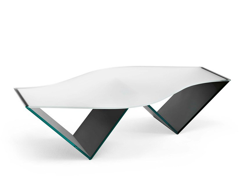 Glass coffee table with integrated magazine rack PULSE - T.D. Tonelli Design