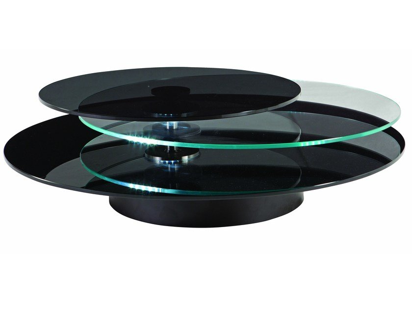 Round glass coffee table with integrated magazine rack for living room PUPILA - ROCHE BOBOIS
