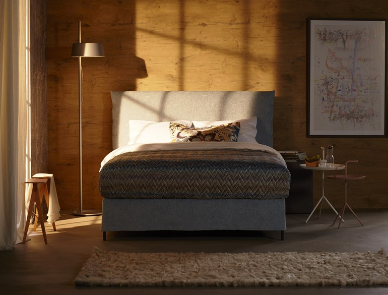 Double bed with removable cover with upholstered headboard Basis 18 + PABLO - Schramm Werkstätten