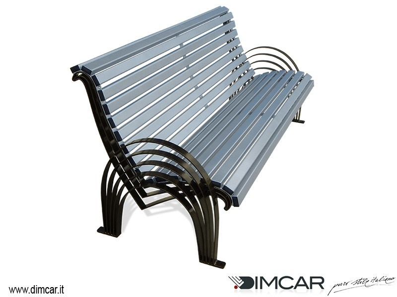 Metal Bench with armrests with back Panchina Sauro by DIMCAR