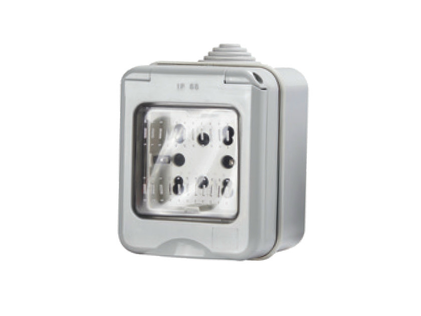 2-Module waterproof electrical outlet SIDE IP55 - 4 BOX