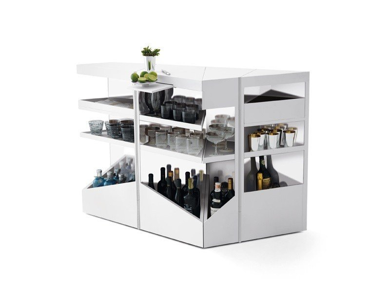 Corian® bar cabinet with casters QBIST BAR - Opinion Ciatti