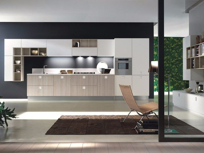 Contemporary style wood-product fitted kitchen with handles QUADRA | Kitchen by Composit