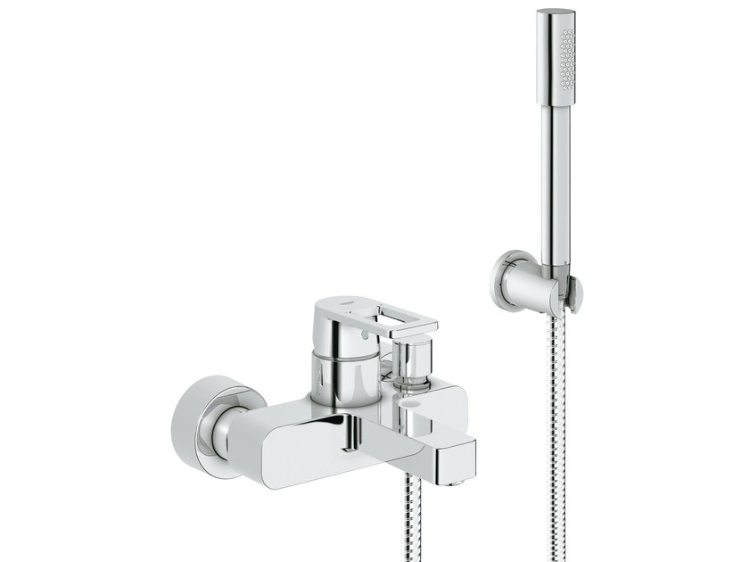Wall-mounted bathtub mixer with hand shower QUADRA S | Bathtub mixer by Grohe