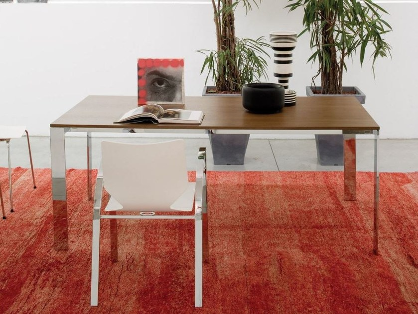 Rectangular steel and wood table quadra xxl the ultimate for Table design xxl