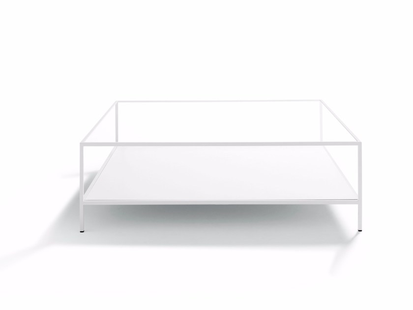 Square glass and steel coffee table QUADRATO - DE PADOVA