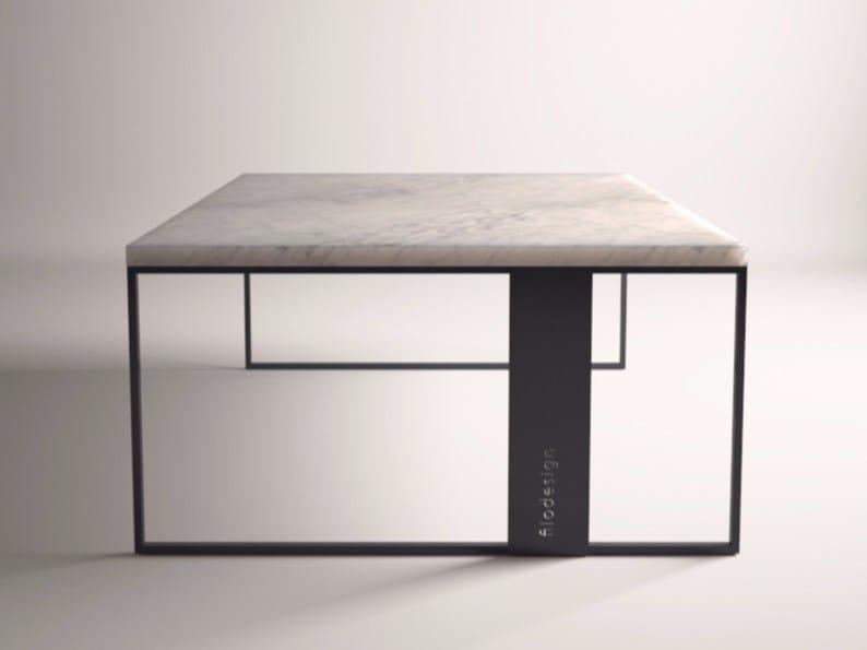 Tavolino in marmo di Carrara da salotto QUADRO by FILODESIGN