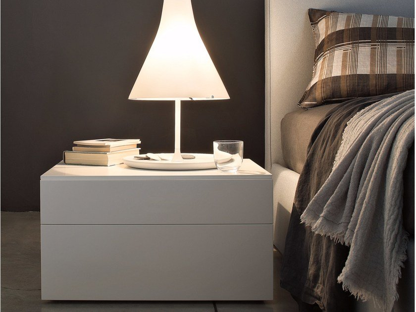 Rectangular bedside table with drawers QUARANTACINQUE | Bedside table - Lema