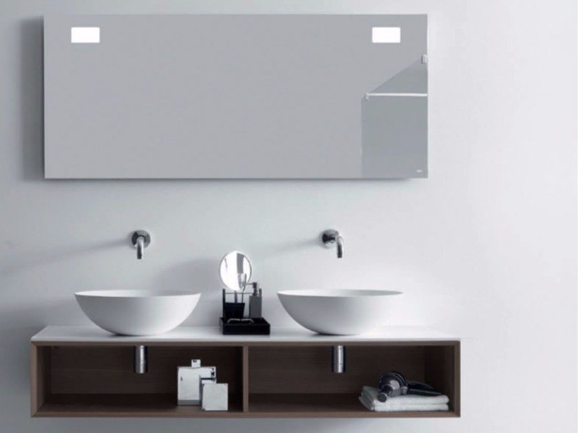 Double wall-mounted wooden vanity unit QUATTRO.ZERO | Double vanity unit - FALPER