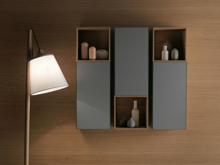 Contemporary style open sectional suspended wooden wall cabinet QUATTRO.ZERO   Suspended bathroom cabinet by FALPER