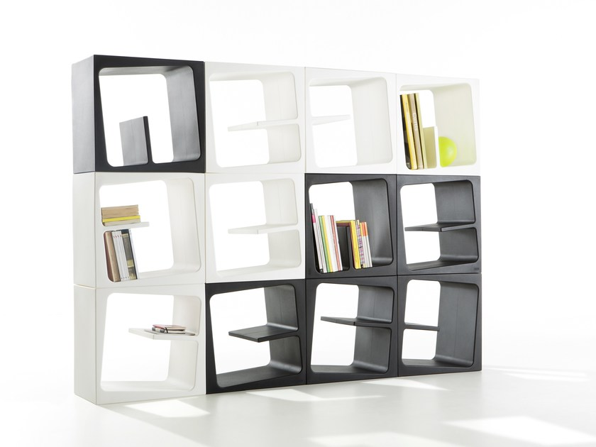 Sectional polyethylene bookcase QUBY by B-LINE