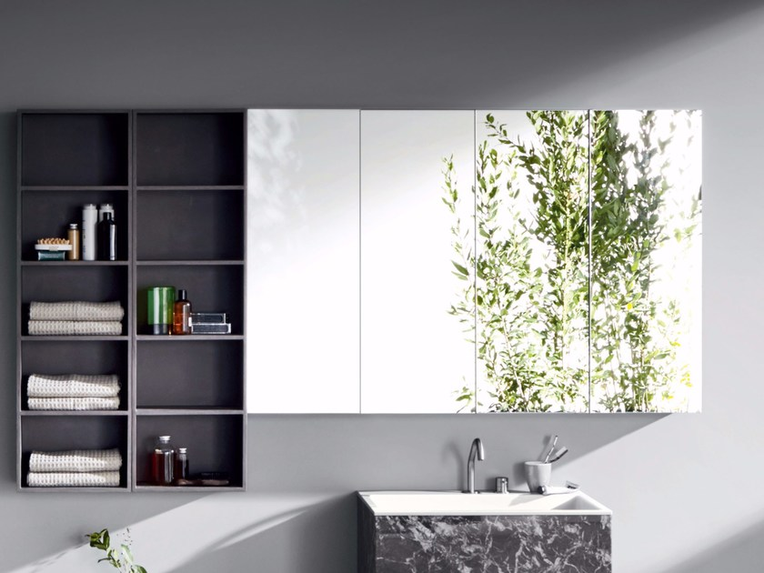 Wall-mounted bathroom mirror with cabinet R1 | Mirror with cabinet by Rexa Design