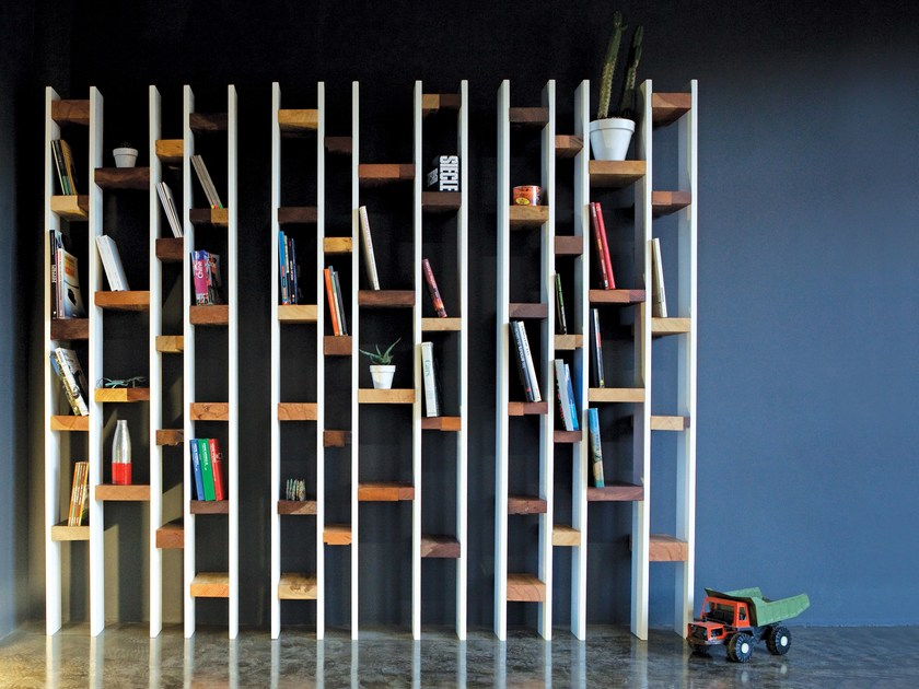 Lacquered wall-mounted reclaimed wood bookcase R60 | Beech bookcase by Kann Design