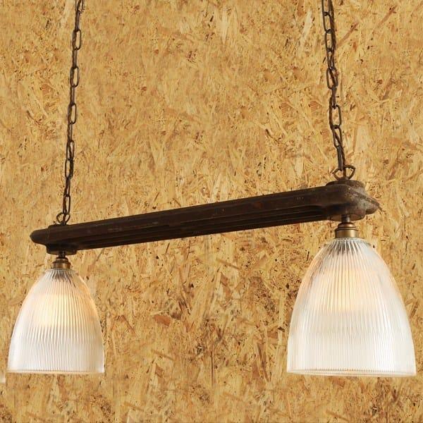 Direct light handmade pendant lamp RAD DOUBLE HOLOPHANE PENDANT by Mullan Lighting