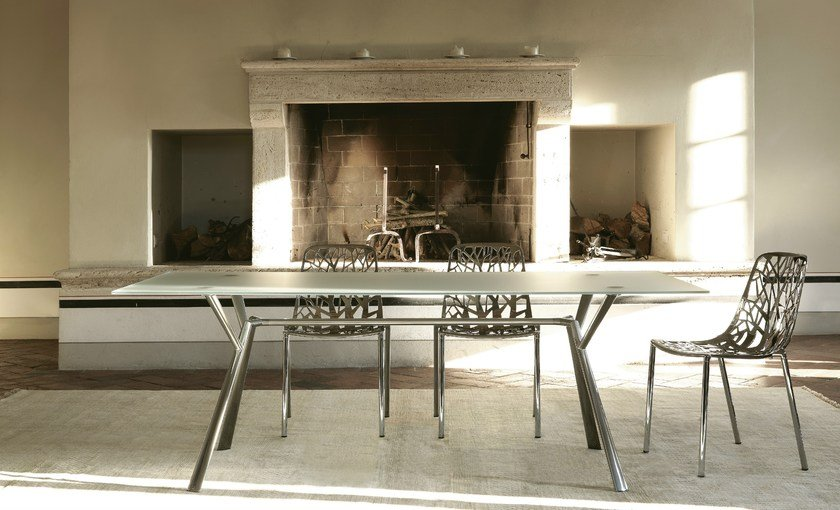 Tavolo rettangolare in cristallo radice quadra tavolo fast - Tavolo con radice ...