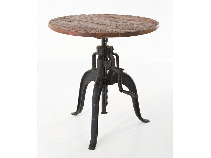 Round steel and wood table RAILWAY MOVE - KARE-DESIGN