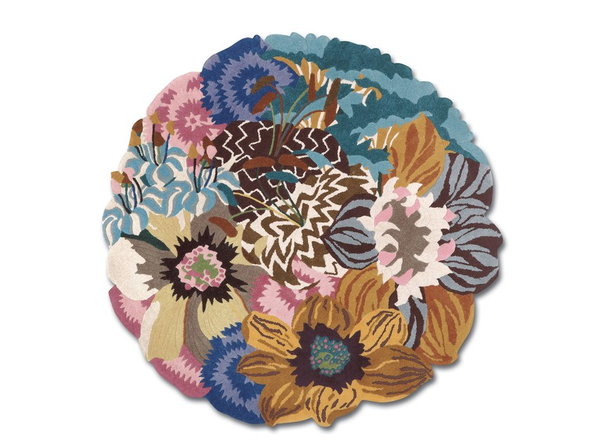 Round wool rug with floral pattern RAJMAHAL | Round rug by MissoniHome