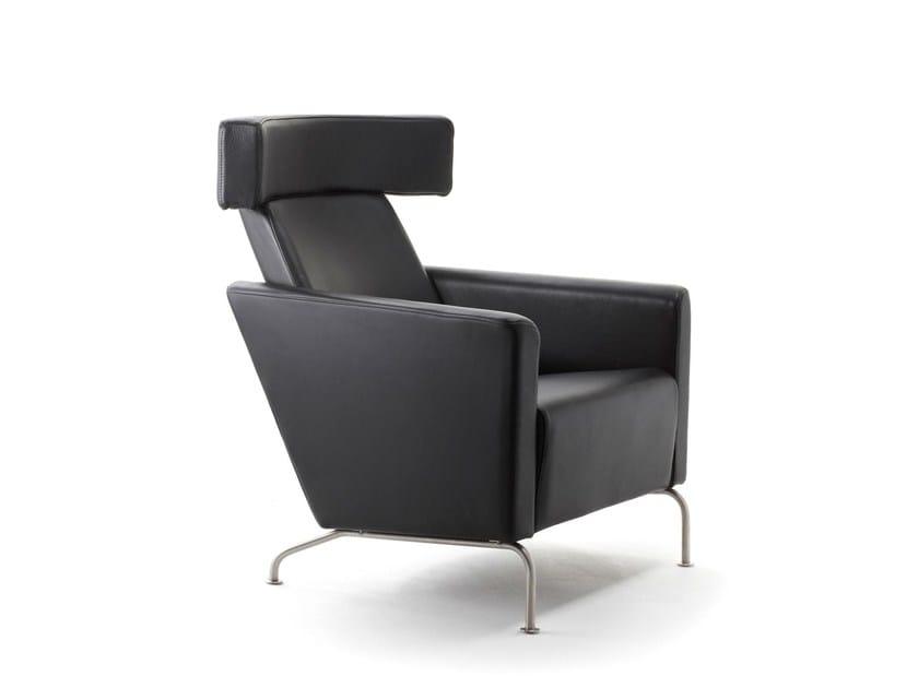 Leather armchair with headrest RAM HIGH | Leather armchair by Stouby