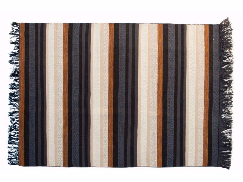 Handmade rectangular striped rug RANGEE by ROCHE BOBOIS