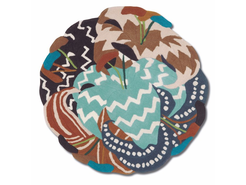 Round wool rug with floral pattern RANI - MissoniHome