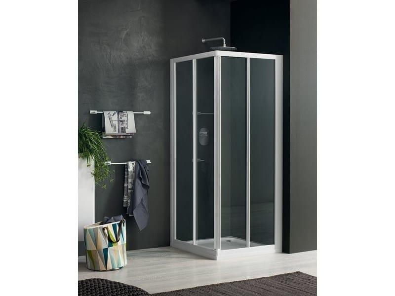 Corner glass shower cabin with sliding door RAPID - 1 - INDA®