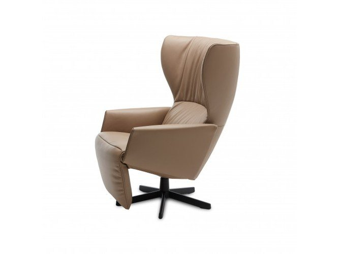 Reclining leather chair with footstool RAPSODIE - Jori