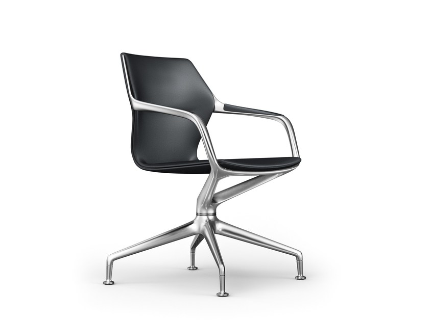 Swivel trestle-based leather task chair with armrests RAY | Swivel task chair - Brunner