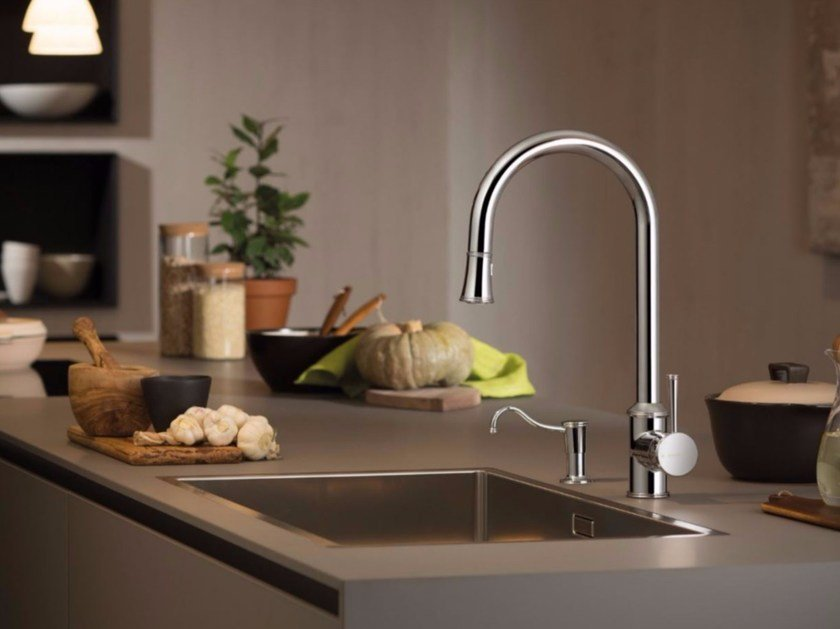 Miscelatore da cucina da piano con doccetta estraibile REAL | Miscelatore da cucina con doccetta estraibile - NEWFORM