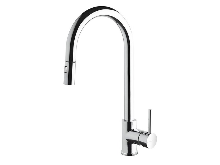 1 hole kitchen mixer tap with pull out spray REAL | Kitchen mixer tap with pull out spray by newform