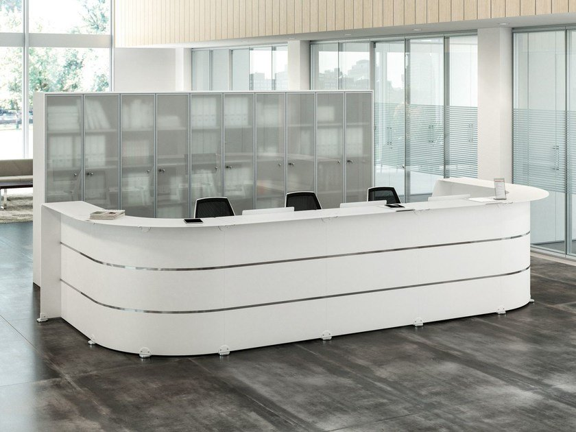 Reception Per Ufficio : Banco reception per ufficio modulare reception glass quadrifoglio