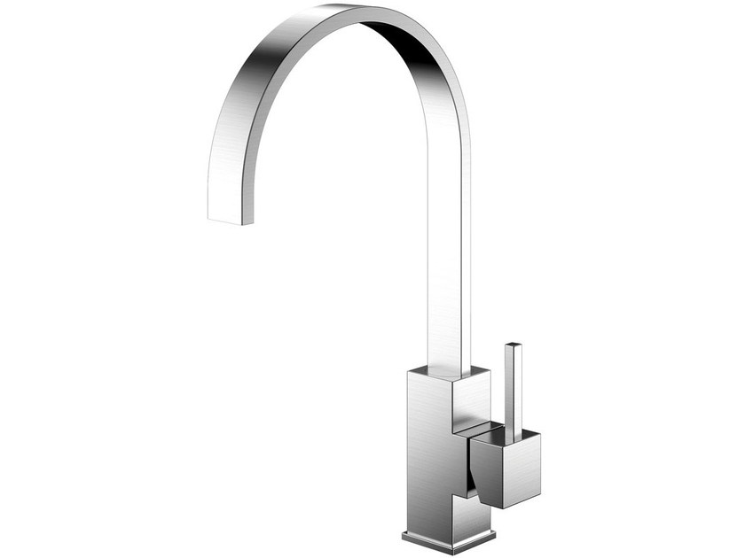 Brushed-finish stainless steel kitchen mixer tap REFLECTED RE-100 - Nivito