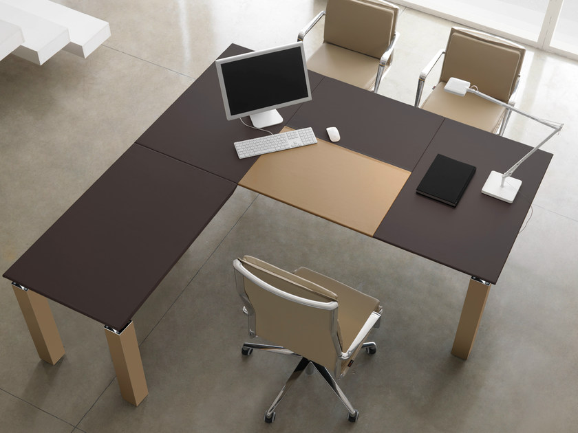 Rectangular leather workstation desk REGAL | Office desk - Quinti Sedute