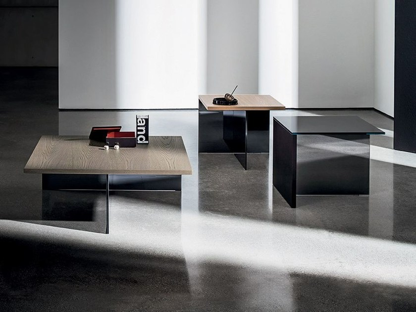 Square wood and glass coffee table REGOLO SQUARE - SOVET ITALIA